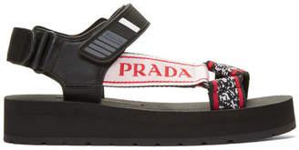 Prada Black and Red Velcro Nomad Sandals