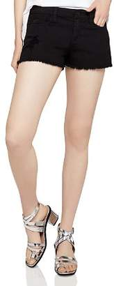 BCBGeneration Frayed Denim Shorts in Distressed Black