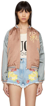 Gucci Pink and Grey Sequinned Guccy Cat Bomber Jacket