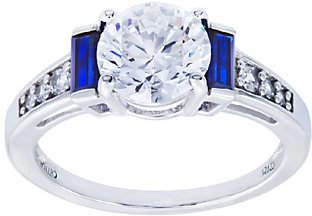 Diamonique & Simulated Sapphire Ring, PlatinumClad