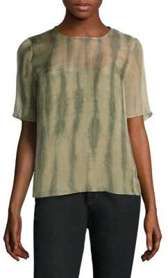 Eileen Fisher Shibori Short-Sleeve Silk Box Top