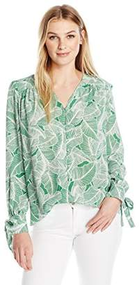 Lark & Ro Women's Button Front Shirred Blouse