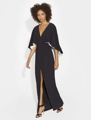 Halston COLORBLOCKED FLOWY CREPE GOWN