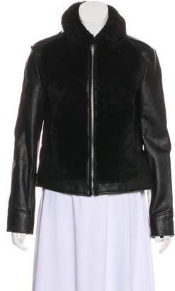 Alexander Wang Shearling-Trimmed Leather Moto Jacket