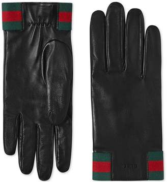 Gucci Leather gloves with Web