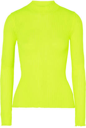 MSGM Ribbed-knit Turtleneck Sweater - Chartreuse