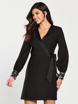 Warehouse Star Embellished Cuff Mini Wrap Dress - Black