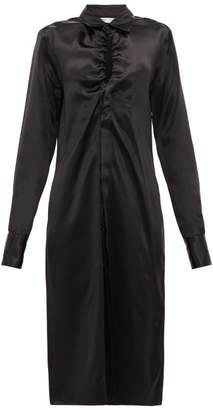 Bottega Veneta Ruched Charmeuse Shirtdress - Womens - Black