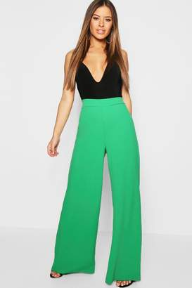boohoo Petite High Waisted Wide Leg Trouser
