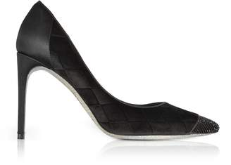 Rene Caovilla Black Diamon Velvet Pumps w/Glitter Sole