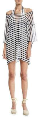 Fuzzi Off-the-Shoulder Tulle Striped Poncho