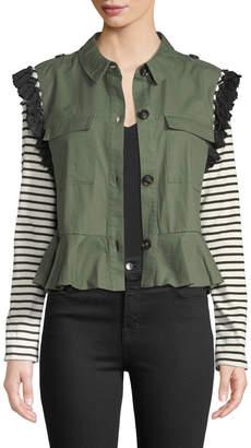 ENGLISH FACTORY Striped-Sleeve Tassel-Trim Utility Jacket