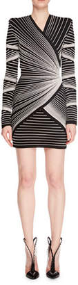 Balmain Long-Sleeve V-Neck Embroidered Optical Effect Mini Cocktail Dress