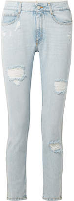Stella McCartney Distressed Slim Boyfriend Jeans - Light denim