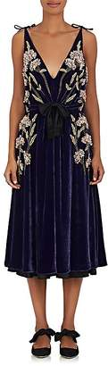 Altuzarra WOMEN'S LISABETTA FLORAL-EMBROIDERED VELVET DRESS