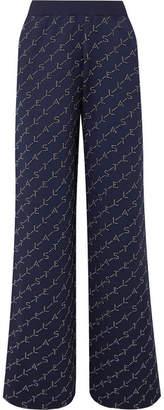 Stella McCartney Intarsia Stretch-knit Track Pants - Navy