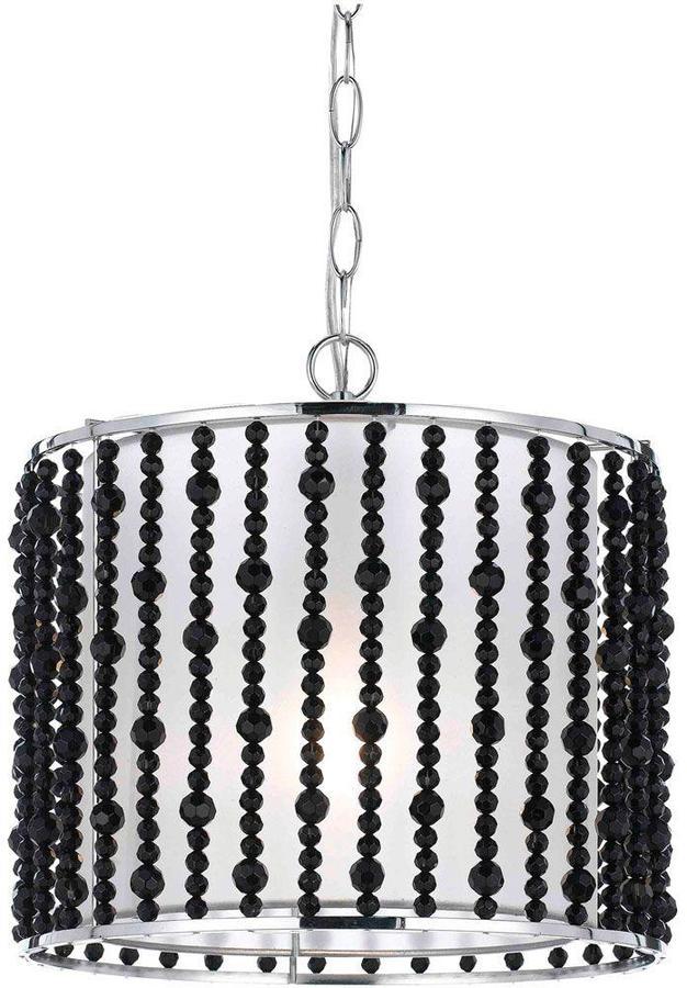 AF LightingAF Lighting Bijou Collection 1-Light Black Beads Accented Drum Pendant