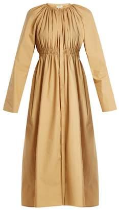 Lemaire Smocked cotton-poplin midi dress