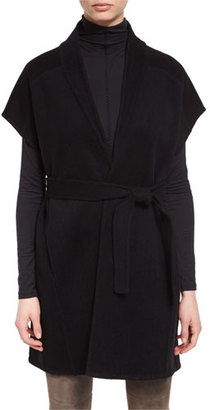 Elie Tahari Whitley Short-Sleeve Wool-Blend Wrap Coat, Black $598 thestylecure.com