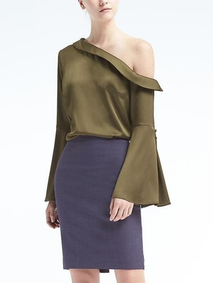 One-Shoulder Flare-Sleeve Top $88 thestylecure.com
