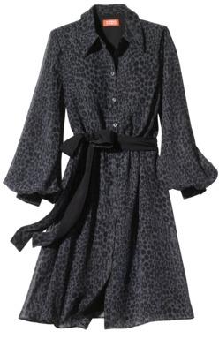 Kirna Zabete for Target® Long-sleeve Shirt Dress in Gray Leopard Kiss Print