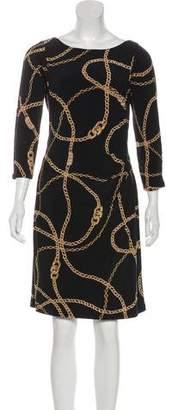 Lauren Ralph Lauren Printed Long Sleeve Knee-Length Dress