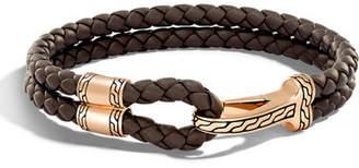 John Hardy Men's Classic Chain Braided Leather Hook Station Bracelet