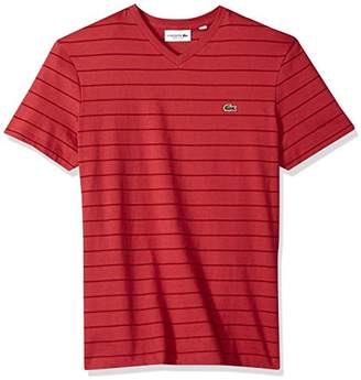 Lacoste Men's Short Sleeve V-Neck Striped Jersey Regular Fit T-Shirt