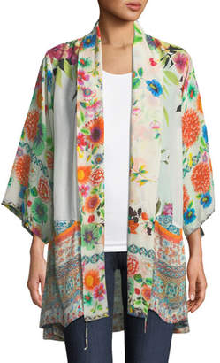 Johnny Was Spring Border Floral-Print Kimono Jacket