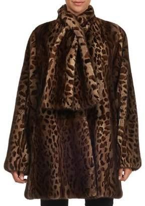Oscar de la Renta Tie-Neck Leopard Print Mink Stroller Jacket