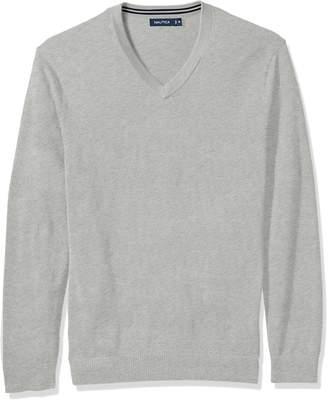 Nautica Men's Big Long Sleeve Solid Classic V-Neck Sweater