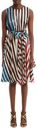 Diane von Furstenberg Sleeveless Waist Tie Draped Maxi Dress