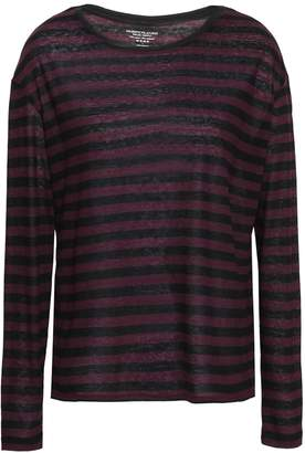 Majestic Filatures Striped Slub Cotton And Cashmere-blend Top
