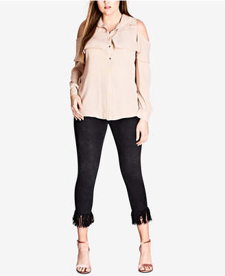 City Chic Trendy Plus Size Cold-Shoulder Shirt