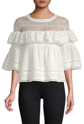 Lumie Mixed Lace Ruffled Cotton Top