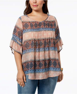 Style&Co. Style & Co Plus Size Medallion-Print Pintucked Top