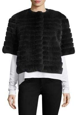 Glamour Puss Glamourpuss Short Sleeve Rabbit Fur Jacket