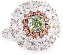 Alexander Laut Light Green Diamond Ring with Pink & White Diamonds