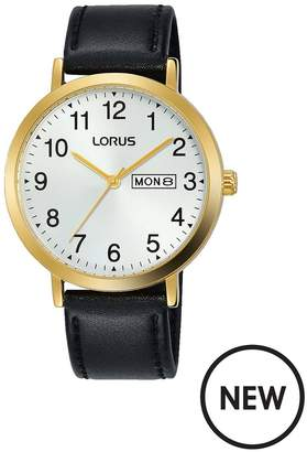 Silver Sunray And Gold Detail DayDate Dial Black Leather Strap Mens Watch