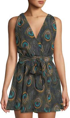 Show Me Your Mumu Corinne Crossover Peacock-Print Dress