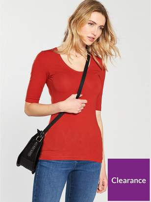 Very Round Neck Cotton Basic Top - Red