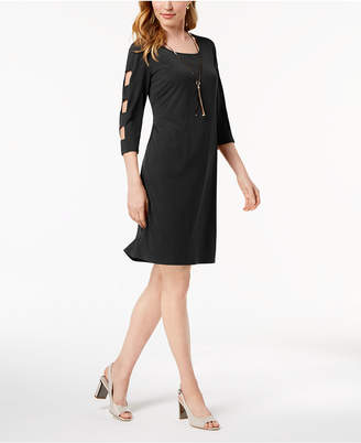 JM Collection Lattice-Sleeve Jersey Dress