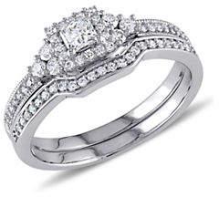 HBC CONCERTO 14K White Gold Halo 0.65 TCW Diamond Bridal Set