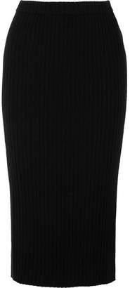 Allude Ribbed Cashmere Midi Skirt - Black