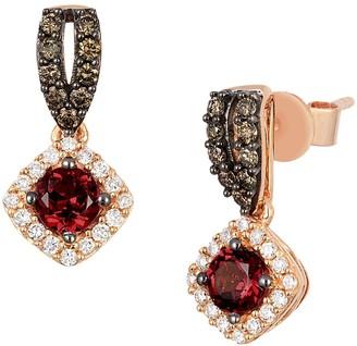 LeVian Le Vian 14k Strawberry Gold Raspberry Rhodolite Vanilla Diamonds & Chocolate Diamonds Square Drop Earrings