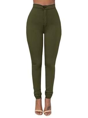 YONYWA Solid High Waist Skinny Women Pants