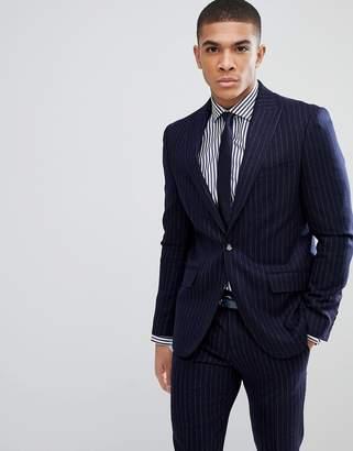 Moss Bros Skinny Suit Jacket In Pinstripe