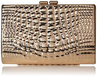 Jessica McClintock Clare Embossed Metal Croco Clutch