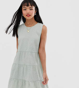 Asos DESIGN Petite sleeveless tiered mini smock dress in seersucker