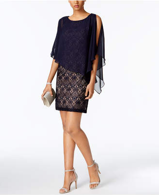 Connected Petite Lace Chiffon Capelet Dress